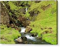 Acrylic Print featuring the photograph Lush Icelandic Falls by Brad Scott