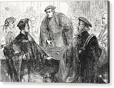 Luther And Zwingle Discussing At Marburg Acrylic Print