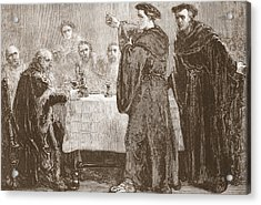 Luther Challenging Carlstadt To Write Against Him Acrylic Print by English School