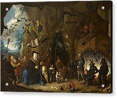 Luther In Hell Acrylic Print by Egbert van Heemskerck II