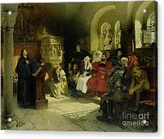 Luther Preaches Using His Bible Translation While Imprisoned At Wartburg Acrylic Print by Hugo Vogel