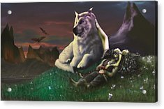Luthien Tends Beren Acrylic Print by Rick Ritchie