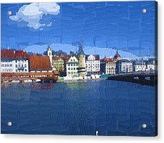 Luzern Lake Front Acrylic Print by Chuck Shafer