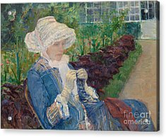 Lydia Crocheting In The Garden At Marly Acrylic Print