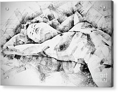 Lying Woman Figure Drawing Acrylic Print