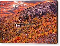 Lynn Cove Viaduct Blue Ridge Autumn Fire Sky Acrylic Print by Dan Carmichael