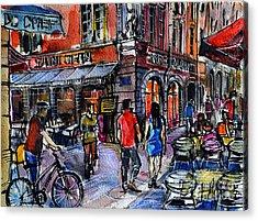 Lyon Cityscape - Street Scene #03 - Rue Saint Jean Acrylic Print by Mona Edulesco