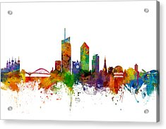 Lyon Skyline Cityscape France Acrylic Print by Michael Tompsett