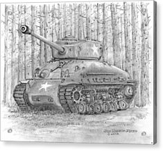 Acrylic Print featuring the drawing M-4 Sherman Tank by Jim Hubbard