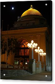 Acrylic Print featuring the photograph M And T Bank At Night by Don Nieman