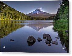 M T Hood Sunrise At Lake Trillium Acrylic Print