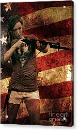 M1 Carbine On American Flag Acrylic Print
