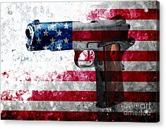 M1911 Colt 45 And American Flag On Distressed Metal Sheet Acrylic Print