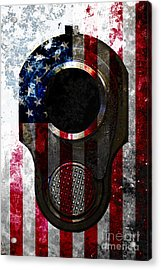 M1911 Colt 45 Muzzle And American Flag On Distressed Metal Sheet Acrylic Print