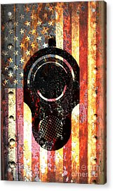 M1911 Colt 45 On Rusted American Flag Acrylic Print