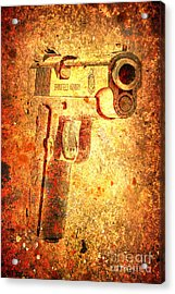 M1911 Muzzle On Rusted Background 3/4 View Acrylic Print
