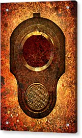 M1911 Muzzle On Rusted Background Acrylic Print