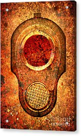 M1911 Muzzle On Rusted Background - With Red Filter Acrylic Print