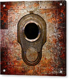 M1911 Muzzle On Rusted Riveted Metal Acrylic Print