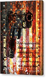 M1911 Pistol And Second Amendment On Rusted American Flag Acrylic Print