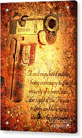 M1911 Pistol And Second Amendment On Rusted Overlay Acrylic Print