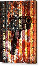 M1911 Silhouette On Rusted American Flag Acrylic Print