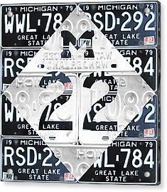 M22 Michigan Highway Symbol Recycled Vintage Great Lakes State License Plate Logo Art Acrylic Print