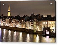 Maas River At Night Acrylic Print by Carol Vanselow