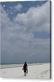 Maasai Seller On The Beach Acrylic Print
