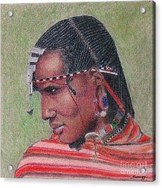 Maasai Warrior II -- Portrait Of African Tribal Man Acrylic Print