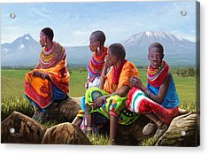 Maasai Women Acrylic Print by Anthony Mwangi