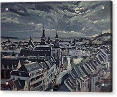 Maastricht By Moon Light Acrylic Print by Nop Briex