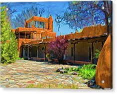 Mabel's Courtyard As Oil Acrylic Print