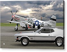 Mach 1 Mustang With P51  Acrylic Print