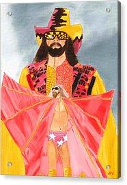 Macho Man Randy Savage Wwe Portrait Acrylic Print by Derek Clendening