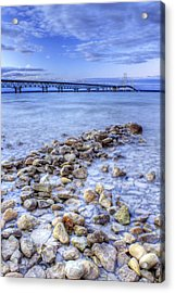 Mackinac Bridge From The Beach Acrylic Print by Twenty Two North Photography