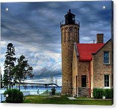 Mackinaw Bridge And Lighthouse Acrylic Print