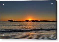 Mackinsie Beach Sun Burst Acrylic Print by Mark Kiver