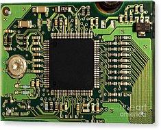 Macro Image Of A Hard Disk Controller Acrylic Print by Yali Shi