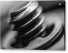 Acrylic Print featuring the photograph Macro Screw Bolt Black White by David Haskett