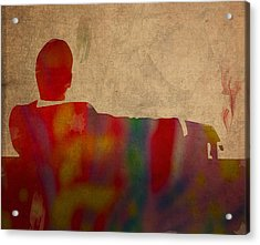 Mad Men Watercolor Silhouette Painting On Worn Parchment No 3 Acrylic Print