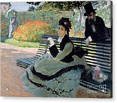 Madame Monet On A Garden Bench Acrylic Print by Claude Monet