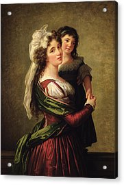 Madame Rousseau And Her Daughter Acrylic Print by Elisabeth Louise Vigee Lebrun