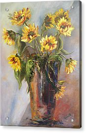 Madelaine's Sunflowers Acrylic Print by Jeanette Fowler
