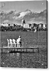 Madison Capitol Across Lake Mendota - Black And White Acrylic Print