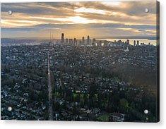 Madison Park Towards The Seattle Skyline Acrylic Print by Mike Reid