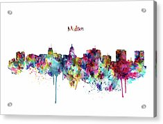 Acrylic Print featuring the mixed media Madison Skyline Silhouette by Marian Voicu