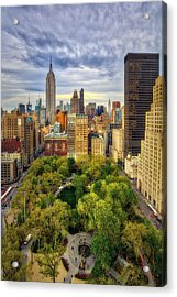 Madison Square Park Aerial View Acrylic Print by Susan Candelario