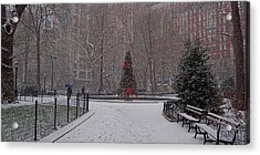 Madison Square Park In The Snow At Christmas Acrylic Print by Chris Lord