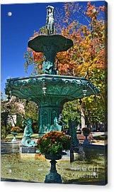Madison Water Fountain In Fall Acrylic Print by Amy Lucid